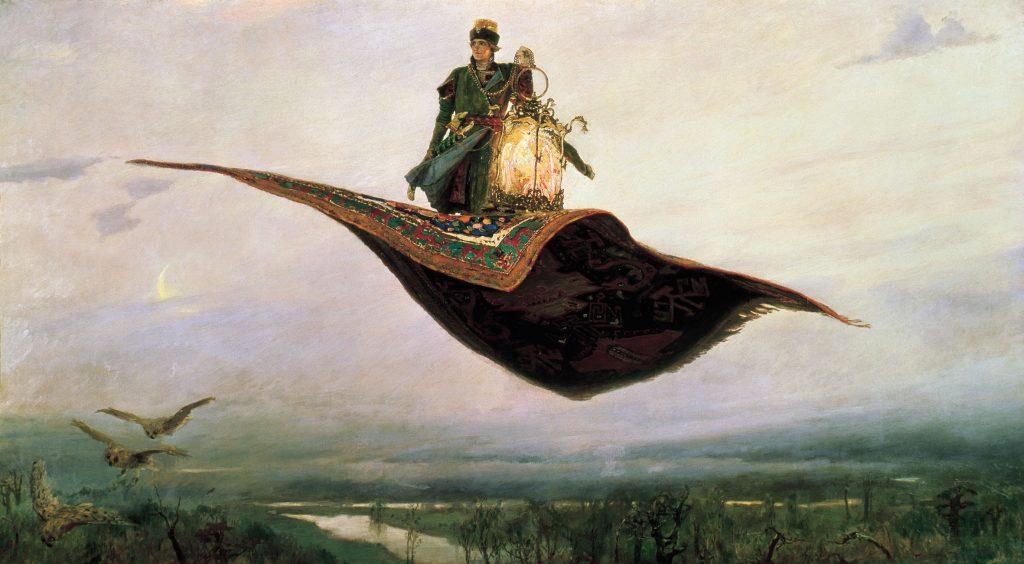 Riding a Flying Carpet, an 1880 painting by Viktor Vasnetsov
